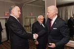 WJC President Ronald S. Lauder greets Vice President Joe Biden as former Secretary of State Henry Kissinger looks on. (C) Shahar Azran