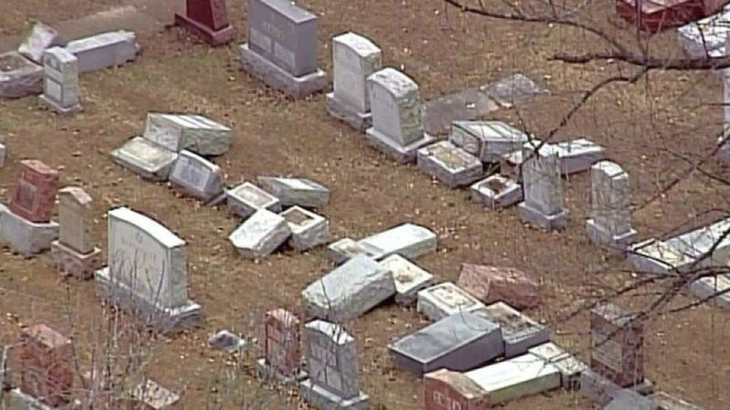 Vandalized Jewish graves in St. Louis