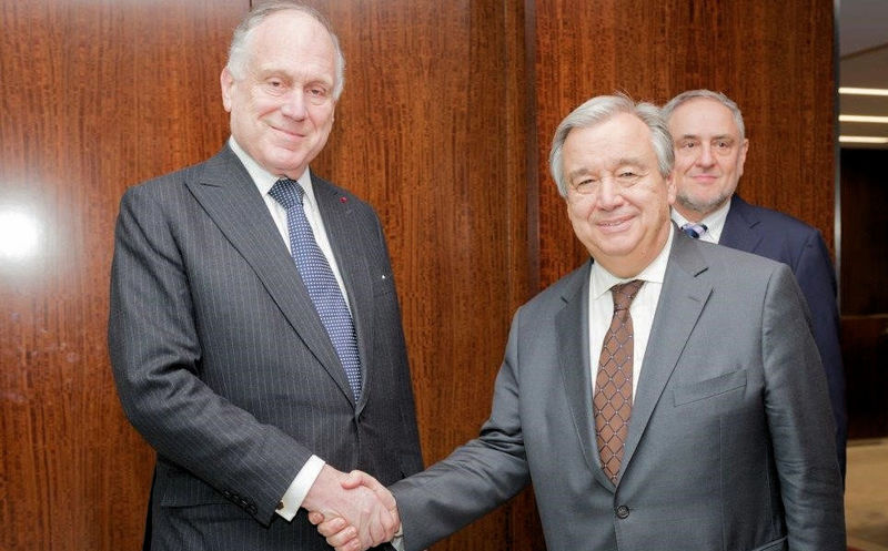 António Guterres met with WJC President Ronald S. Lauder in March.