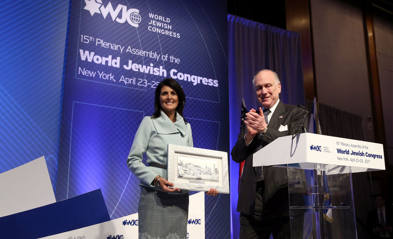 Nikki Haley with WJC President Ronald S. Lauder