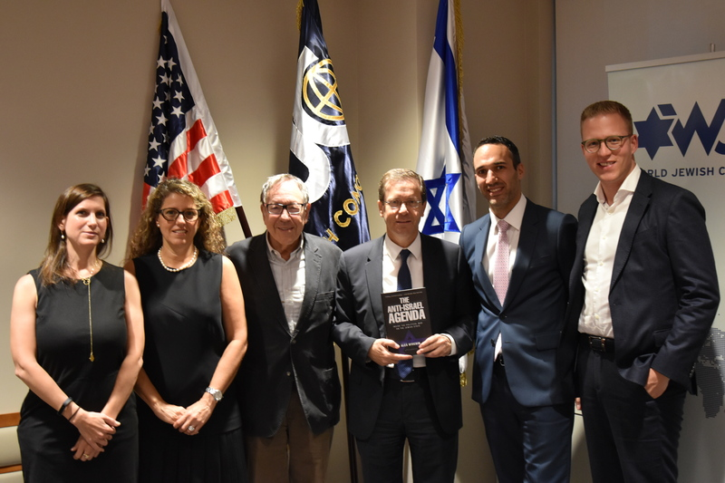 Former Canadian Justice Minister Irwin Cotler and MK Isaac Herzog, center, with JDCorps policy analyst Yfat Barak-Cheney and WJC Chief Programs Officer Sonia Gomes de Mesquita on left, and WJC JDCorps members Alex Ryvchin in and Itai Abelski on right.