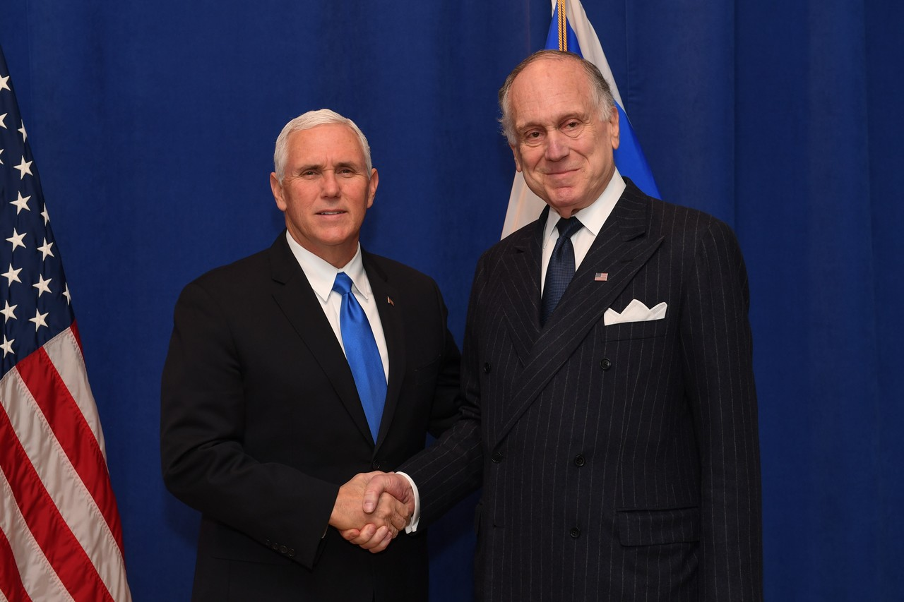 US Vice President Mike Pence and WJC President Ronald S. Lauder. (c) Shahar Azran