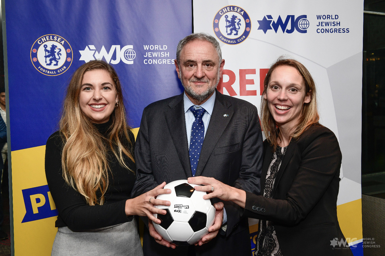 WJC CEO and Executive Vice President Robert Singer, center with Seren Fryatt and Alyssa Chassman, winners of the NY Pitch for Hope competition. (c) Shahar Azran