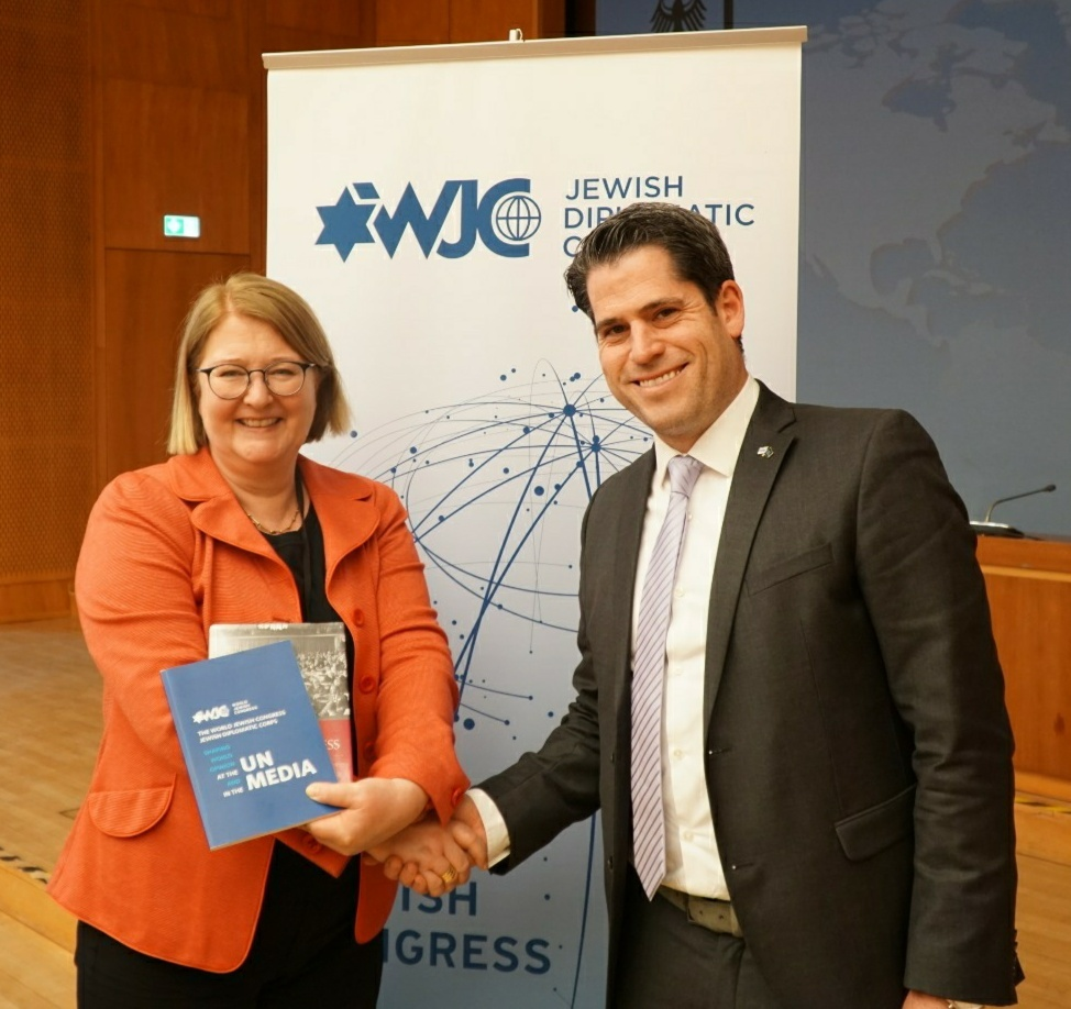 Antje Leendertse, State Secretary at the German Ministry of Foreign Affairs, and WJC Jewish Diplomat Kevin Baxpehler (Israel).