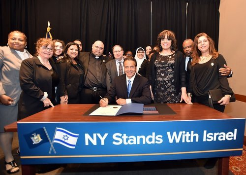 Governor Cuomo signing the anti-BDS order on Sunday