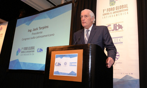 Latin American Jewish Congress President Jack Terpins at the opening of the forum