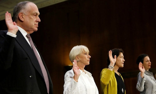 Ronald S. Lauder and Helen Mirren at a Senate committee hearing in June 2016