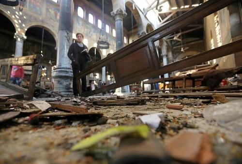 Cairo's St. Mark's Cathedral after the bomb attack on Sunday